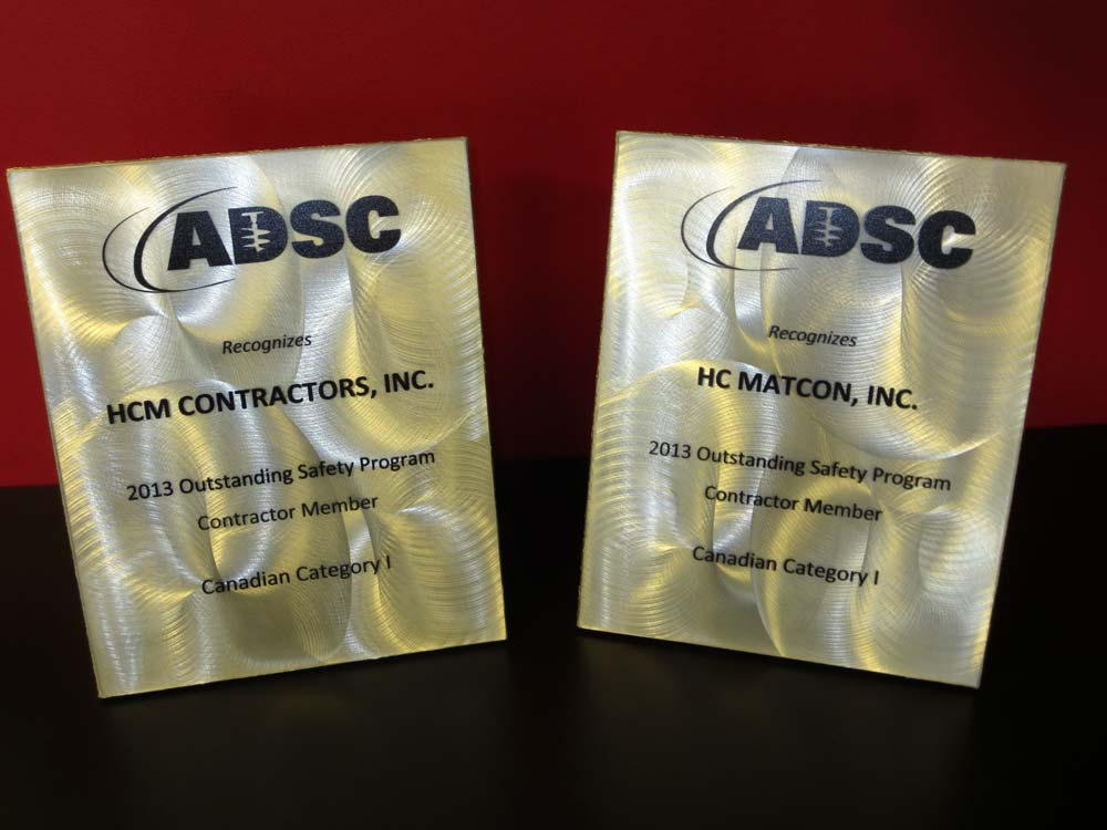 HC Matcon and HCM Contractors awarded ADSC Outstanding Safety Program